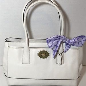 Coach Madeline White Leather Satchel with scarf